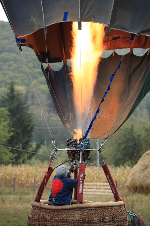 Download Heating The Hot Air Balloon Before Lifting Off Editorial Image - Image: 26883140