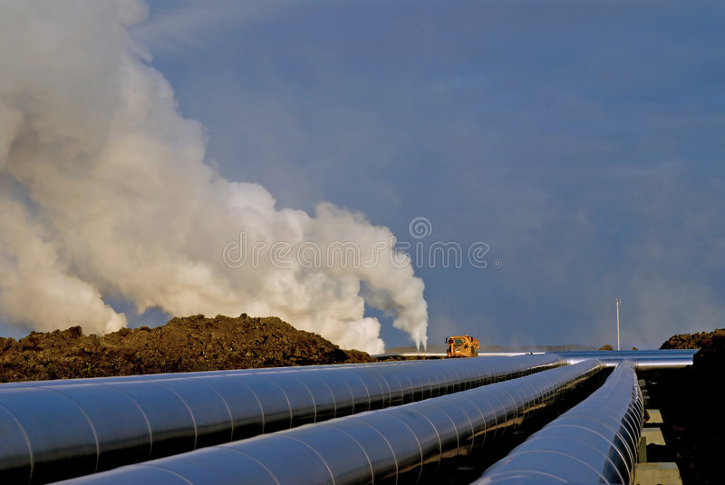 Heating pipes in Iceland royalty free stock images