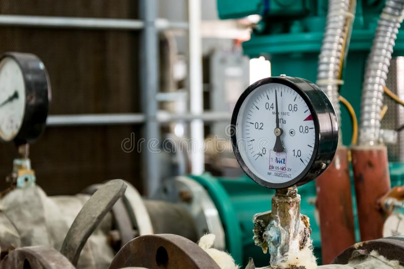Heating plant manometer royalty free stock photos