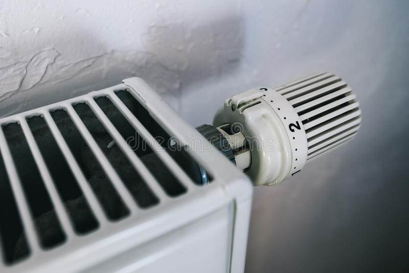 Heating radiator adjusting knob stock photo