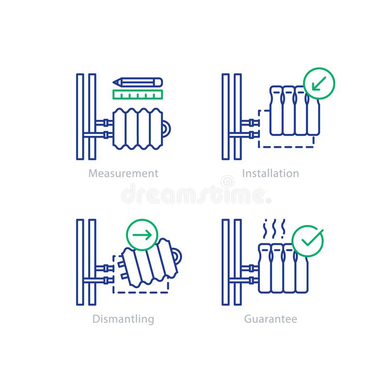 Heating radiator repair, tube connection, renovation concept. Central heating radiator replacement and installation services, home pipes, plumbing works, vector stock illustration
