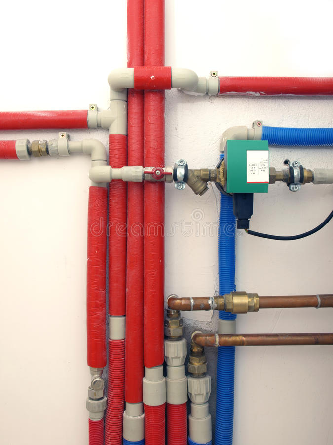 Heating system. Pipes in a boiler room stock photography