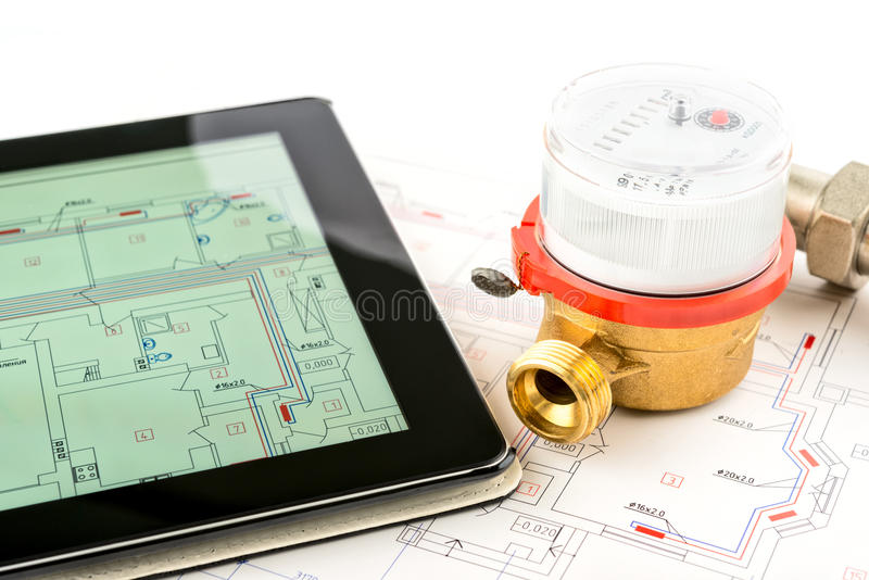 Heating system development. Professional tools and devices stock image