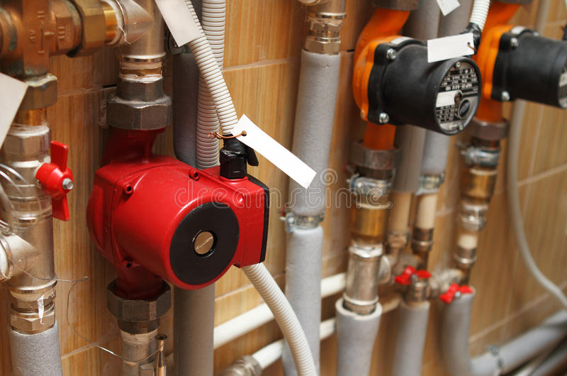 Heating system of the house. Close up royalty free stock image