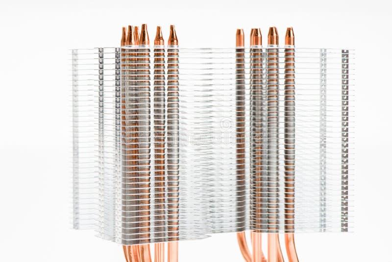 Heatpipes in der modernen Kühlvorrichtung Abkühlendes Konzept stockbilder