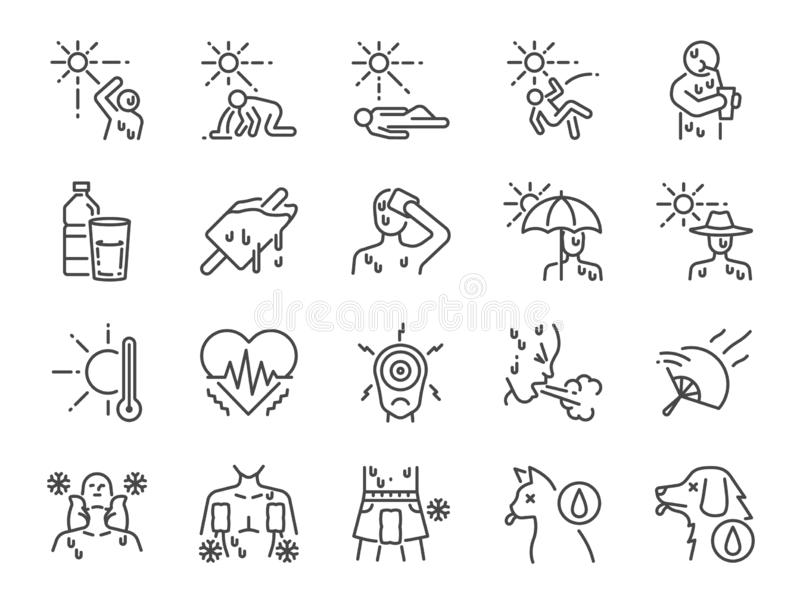 Heatstroke ikony kreskowy set Zawierać ikony jako upał, uderzenie, słabo, gorący, chory, lato i bardziej ilustracja wektor