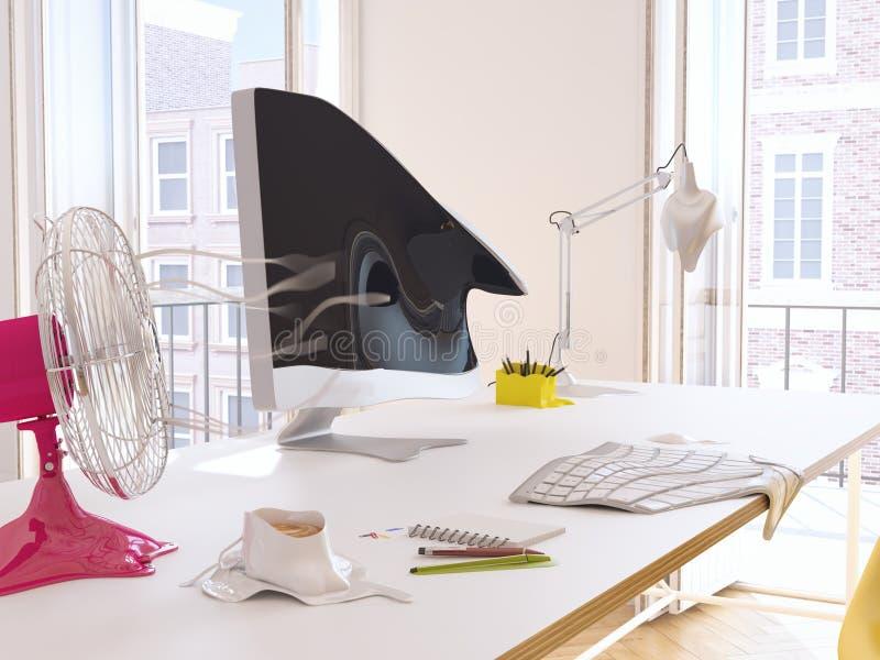Heatwave in the office. 3d rendering vector illustration