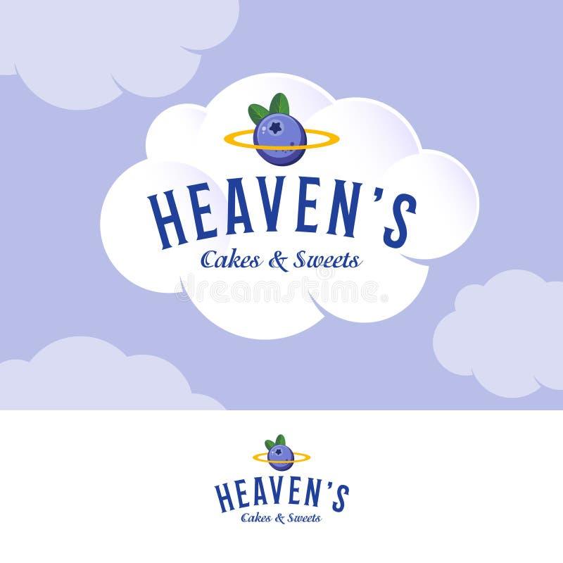 Heaven';s商标 在白色奶油色云彩的面包店和酥皮点心商标 信件和金黄雨云用蓝莓 向量例证