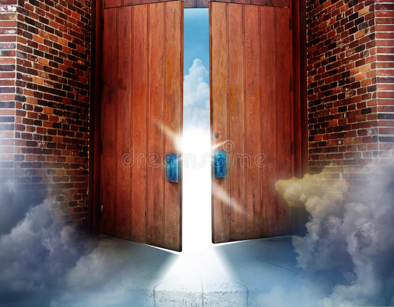 Heaven. Two heavy wooden doors open with a bright light and the clouds of heaven peeking from beyond