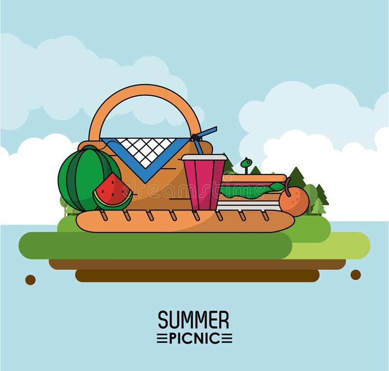Heaven background poster of summer picnic with outdoor landscape of picnic basket and watermelon and sandwich and drink stock illustration