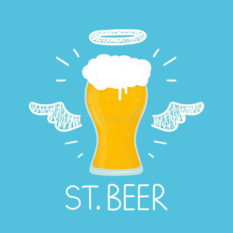 Heaven beer concept `St. beer` with angel royalty free illustration