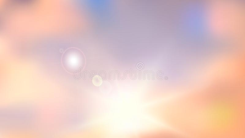 Heaven blur background abstract art. Blurred blue sky backdrop with light bokeh clouds. Vector illustration in colors of dawn stock illustration