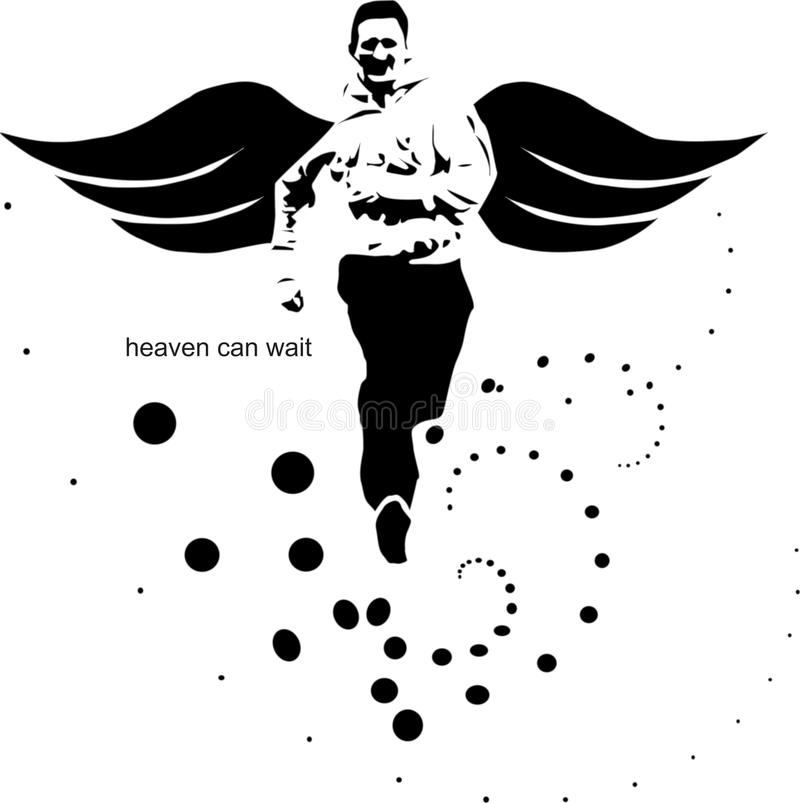 Heaven can wait in. The illustration shows a running cheerful person who enjoys life stock illustration