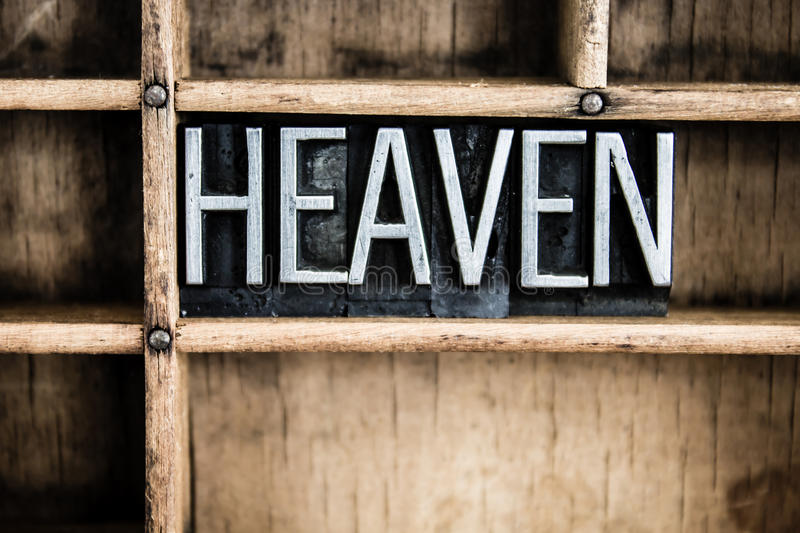 Heaven Concept Metal Letterpress Word in Drawer royalty free stock photography