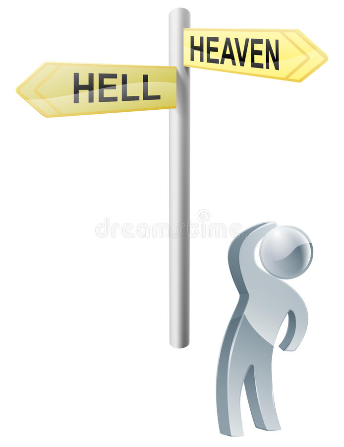 Heaven or hell choice stock illustration