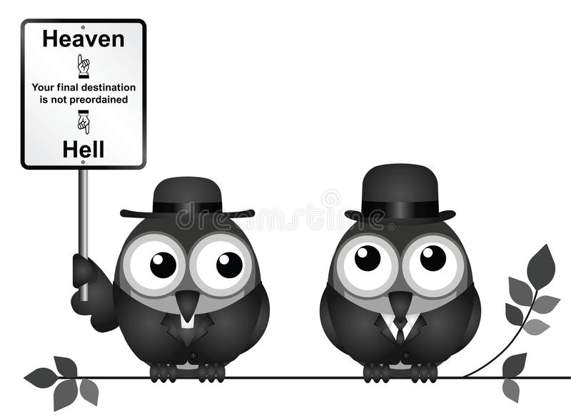 Heaven or Hell destination. Bird vicar with destination heaven or hell sign and worried businessman perched on a branch isolated on white background vector illustration