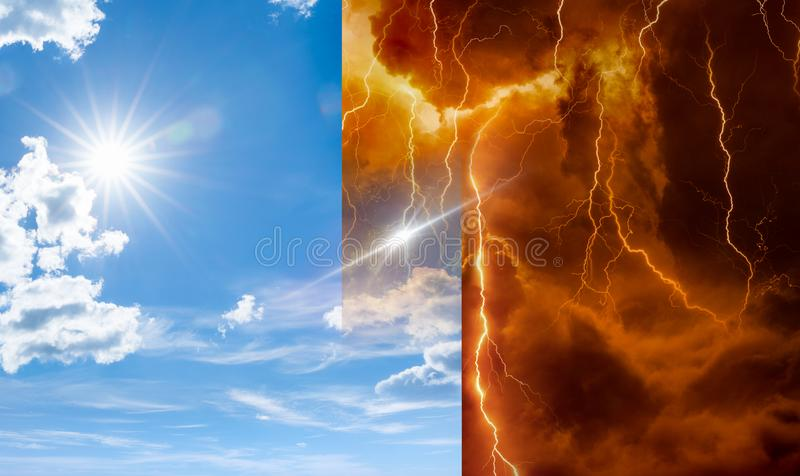 Heaven and hell, good and evil, light and darkness stock images