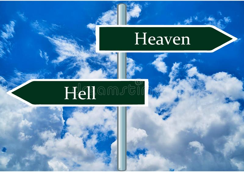 Heaven and Hell signs. stock images