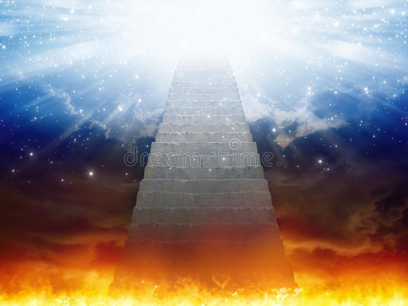 Heaven and hell, staircase to heaven, light of hope from blue sk stock illustration