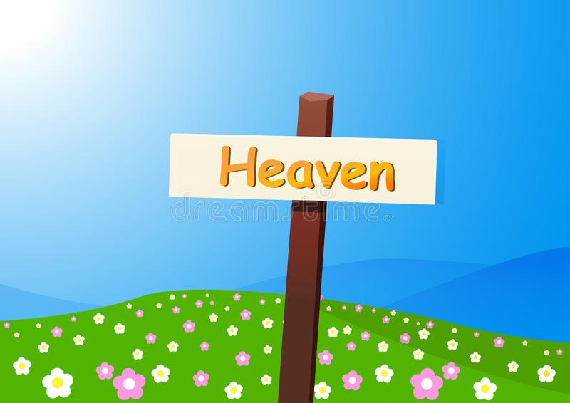 Heaven landscape with signpost, flower and field. Vector stock illustration
