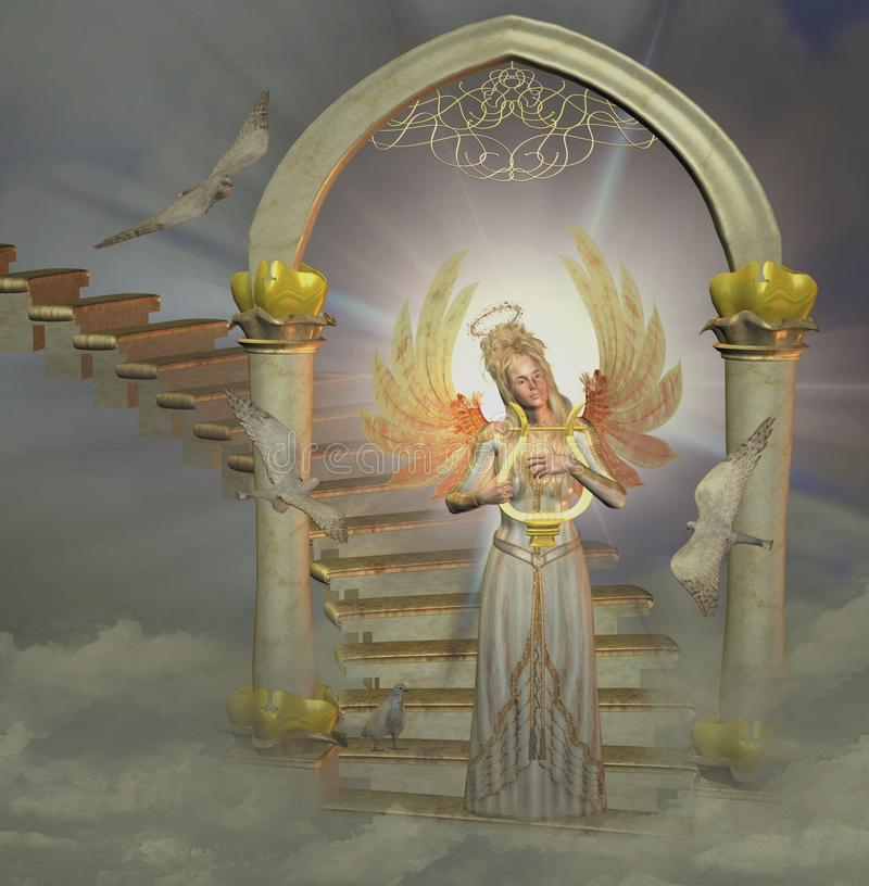 Heaven`s gate. With angel and doves stock illustration