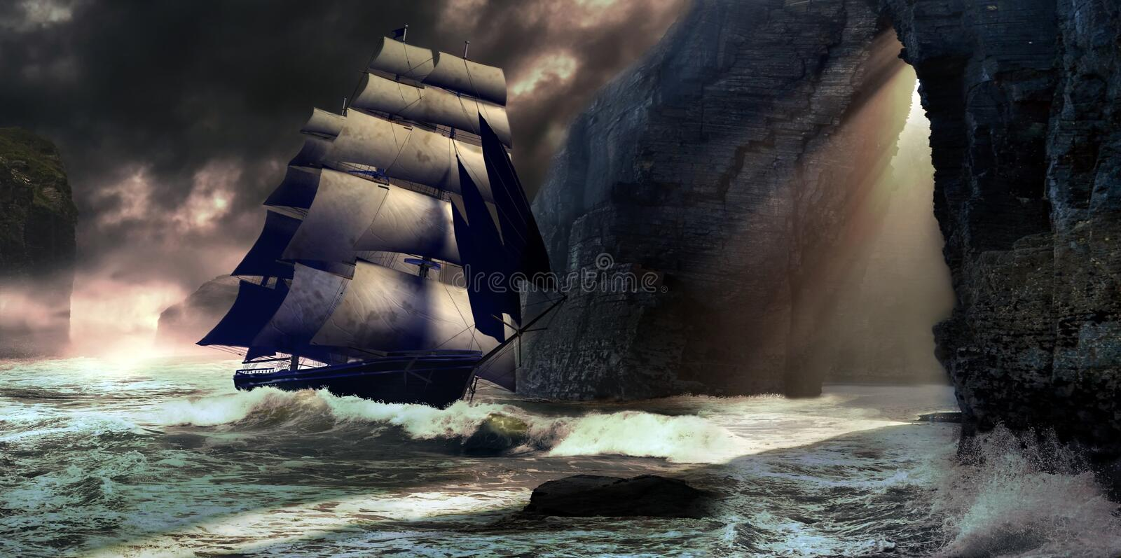 Heaven's gate. A sailing sailboat on an unsettled sea, under clouds, near the high cliffs of the coast, arriving of the darkness, is to enter by an opening