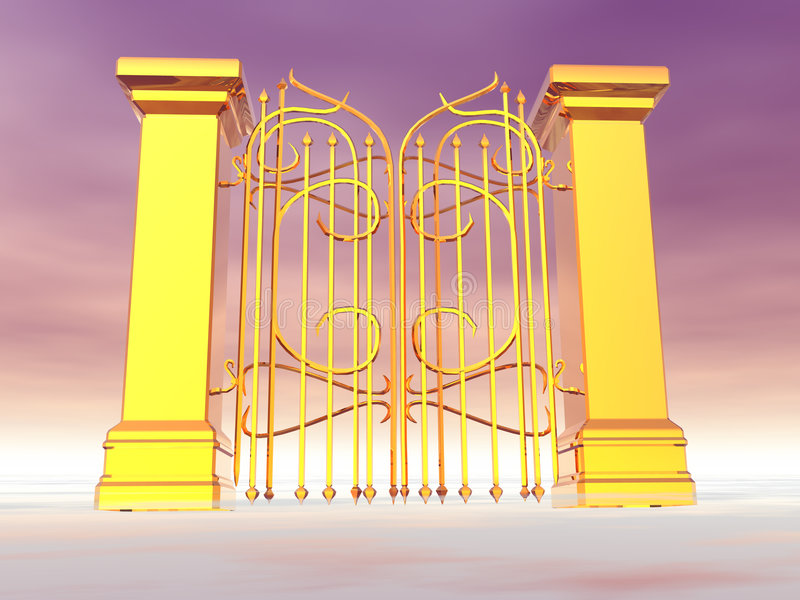 Heaven's Gate. Gold Gate in the clouds royalty free illustration