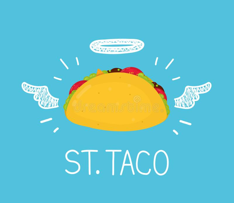 Heaven taco concept `St. Taco` with angel halo vector illustration