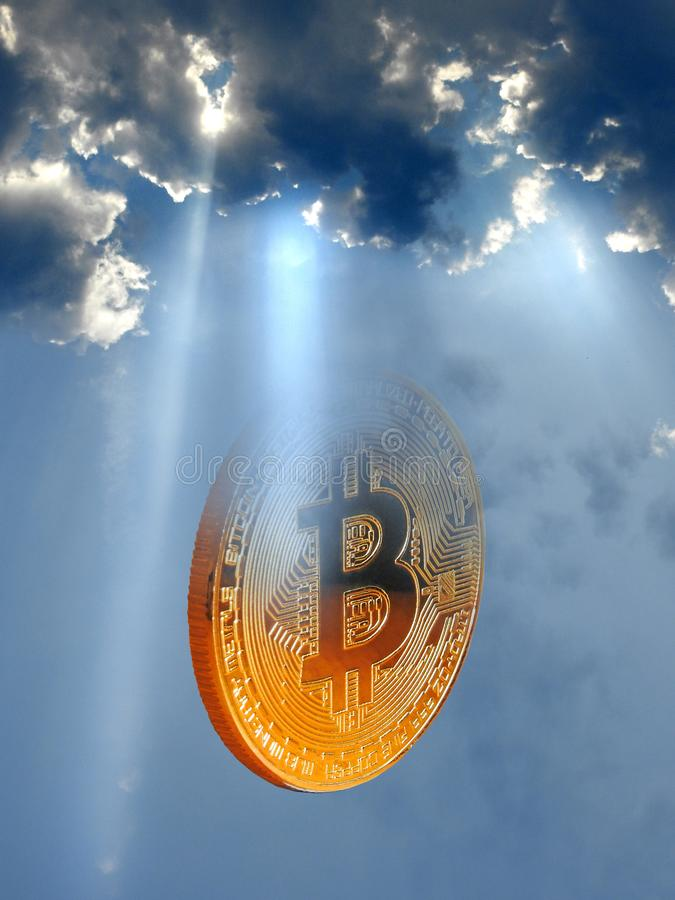 Heavenly bitcoin sun rays storm clouds royalty free stock photos