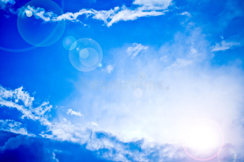 Heavenly bright blue sky with sun rays. Bright blue sky and sun light rays looking serene, heavenly stock image