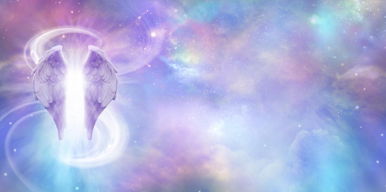 Heavenly Cosmic Angel Spirit Banner. A pair of Angel Wings with a swish of white energy behind set against a wide vivid cosmic Universe background with copy stock images
