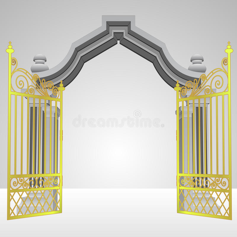 Heavenly gate with open gold fence vector vector illustration