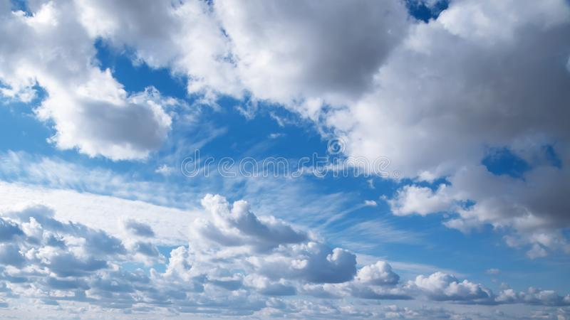 Heavenly landscape. The weather is nice summer sunny. Natural background blue sky with beautiful clouds with copy space royalty free stock photography