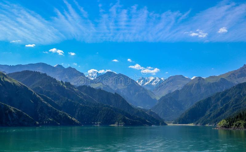 Heavenly Mountains and Heavenly Lake of Xinjiang, China royalty free stock photo