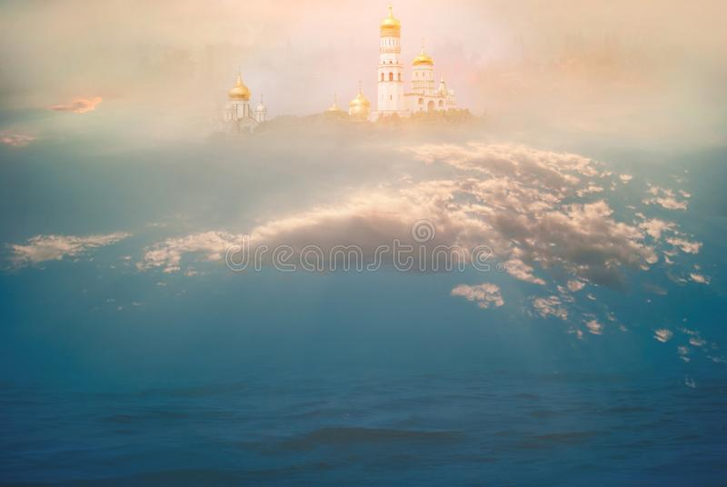 Heavenly temple in the clouds above the ocean. The concept of Christian and Catholic religion and faith. The majestic background. For prayers, relaxation royalty free stock images