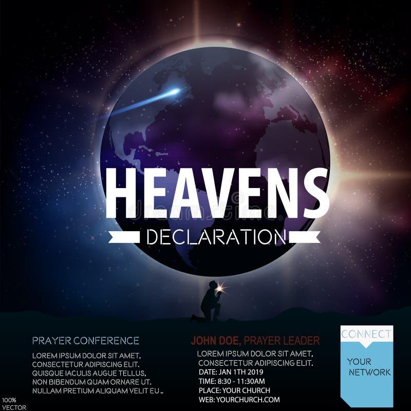 Heavens declarations Christian religious design for prayer conference. royalty free illustration