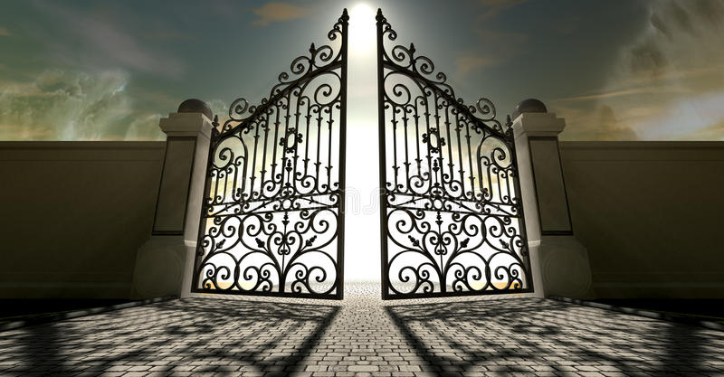 Heavens Open Ornate Gates. A set of ornate gates to heaven opening under an ethereal light and cloudy afterlife royalty free stock photography