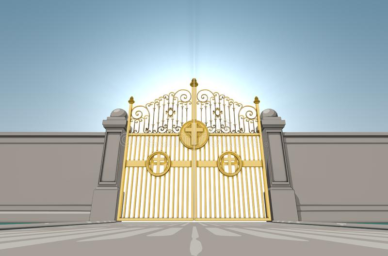 Heavens Pearly Gates. An illustrated depiction of the golden pearly gates of heaven closed shut on a blue sky background - 3D render vector illustration