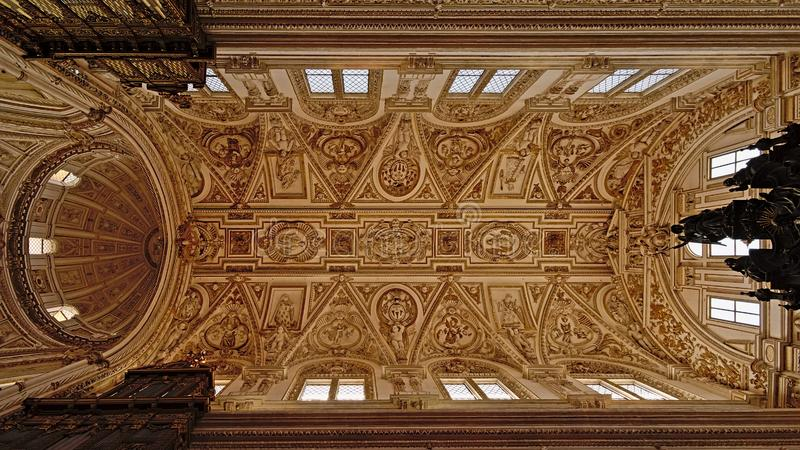 Ceiling of an aisle of of the Mosque Cathedral of Cordoba royalty free stock photos