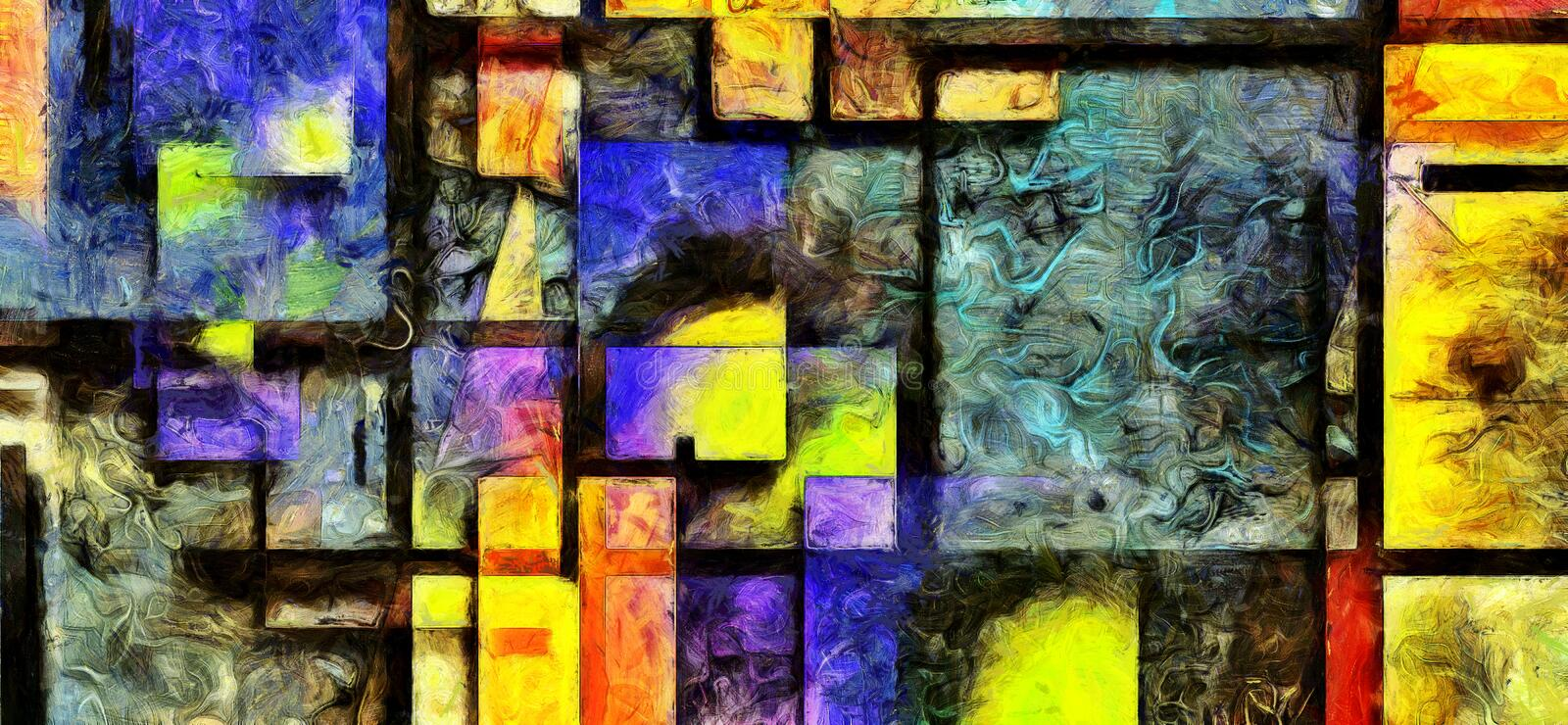 Heavily Textured Digital Abstract Painting stock illustration