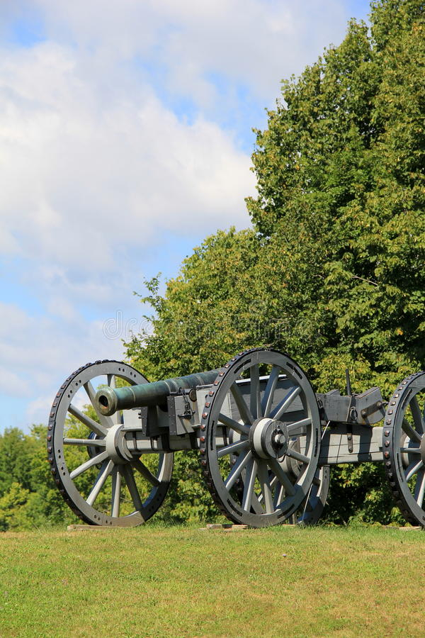 Heavy artillery canon set in open field royalty free stock photography