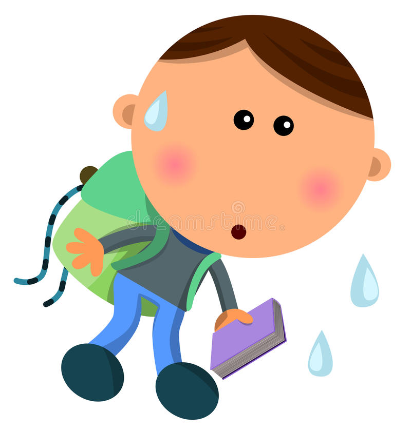 Heavy bag. Cute cartoon boy sweating and crouching because of his heavy bag royalty free illustration
