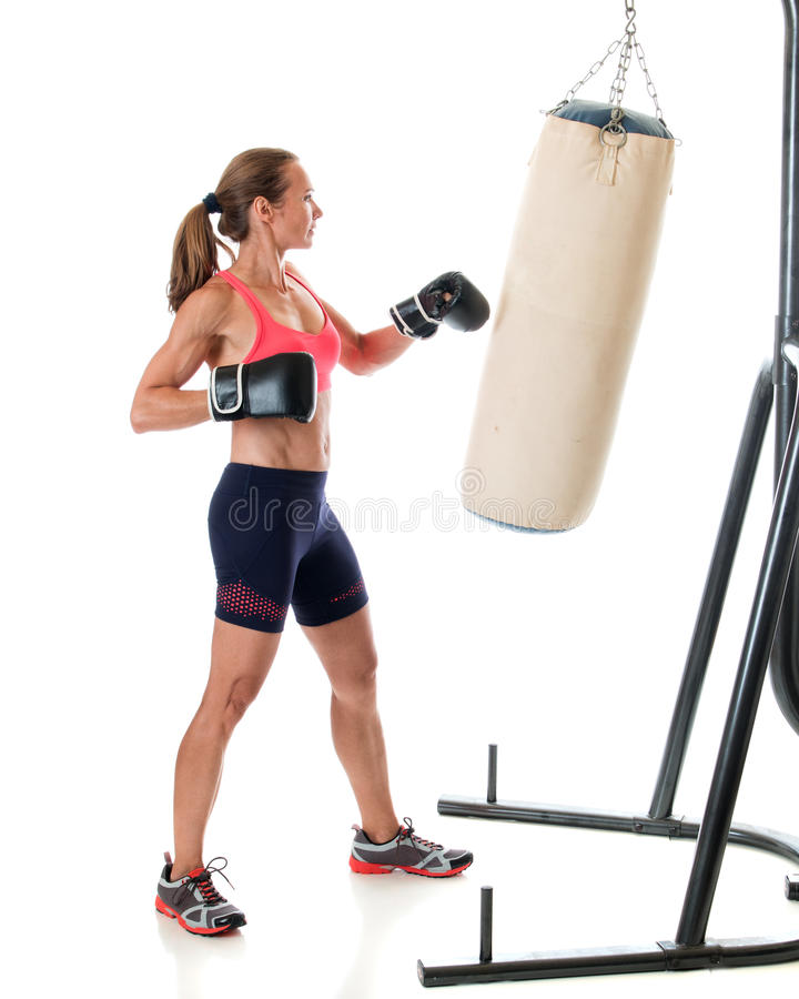 Heavy Bag Exercise stock images