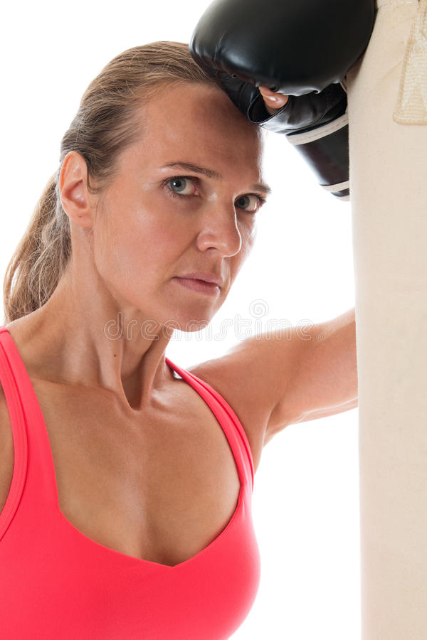 Heavy Bag Exercise stock photo
