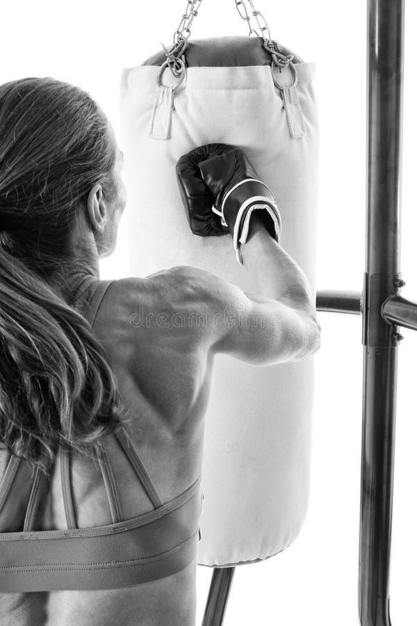 Heavy Bag Exercise. Studio shot over white stock images