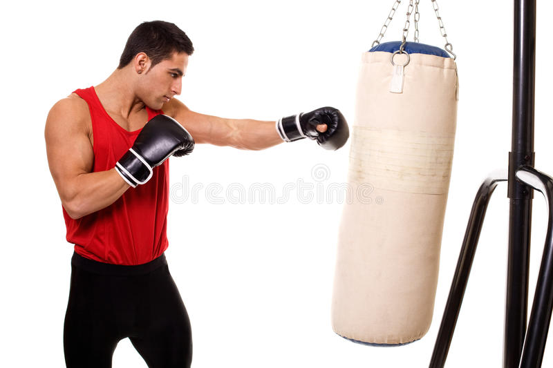 Heavy Bag Workout. Boxing workout with heavy bag. Studio shot over white royalty free stock images