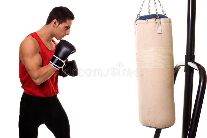 Heavy Bag Workout. Boxing workout with heavy bag. Studio shot over white stock image