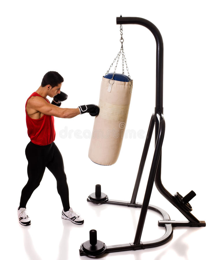 Heavy Bag Workout. Boxing workout with heavy bag. Studio shot over white stock photos