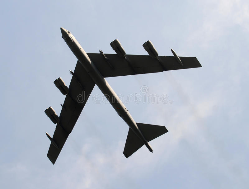 Heavy bomber. Modern US Air Force heavy bomber passing overhead stock images
