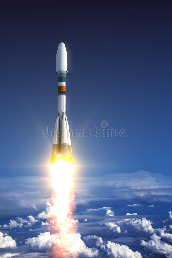 Heavy Carrier Rocket Launch royalty free illustration
